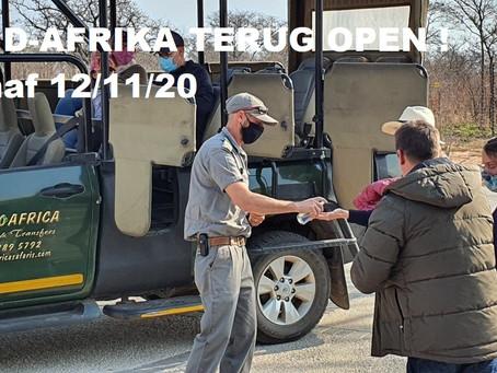 ZUID-AFRIKA TERUG OPEN 12/11/2020