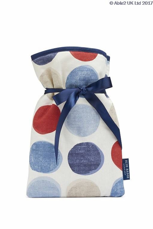 Blue Badge Mini Hot Water Bottle - Helix Spots Blue/Red