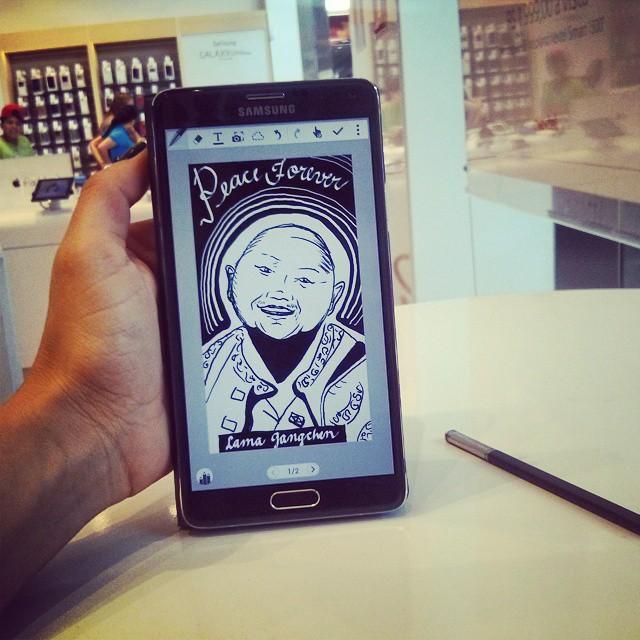 Pra fechar o ano, mais um dia ilustrando na Samsung! E hoje recebi um pedido especial_ Lama Gangchen