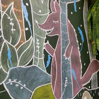 O lobo bom 💙_#lousa #chalkboard #kidsparty _arte baseada em ilustração enviada pelo cliente_