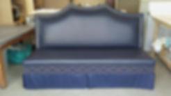 blue vinyl banquette w swirl nailheads.j