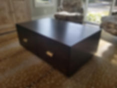 Brown square coffee table gold handles.j
