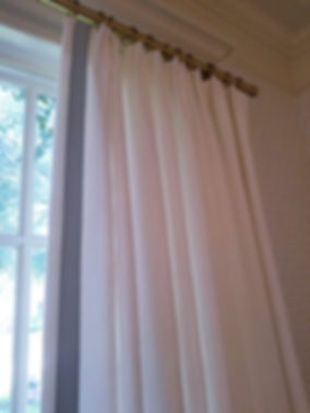 lacey curtains white w blue trim cu side