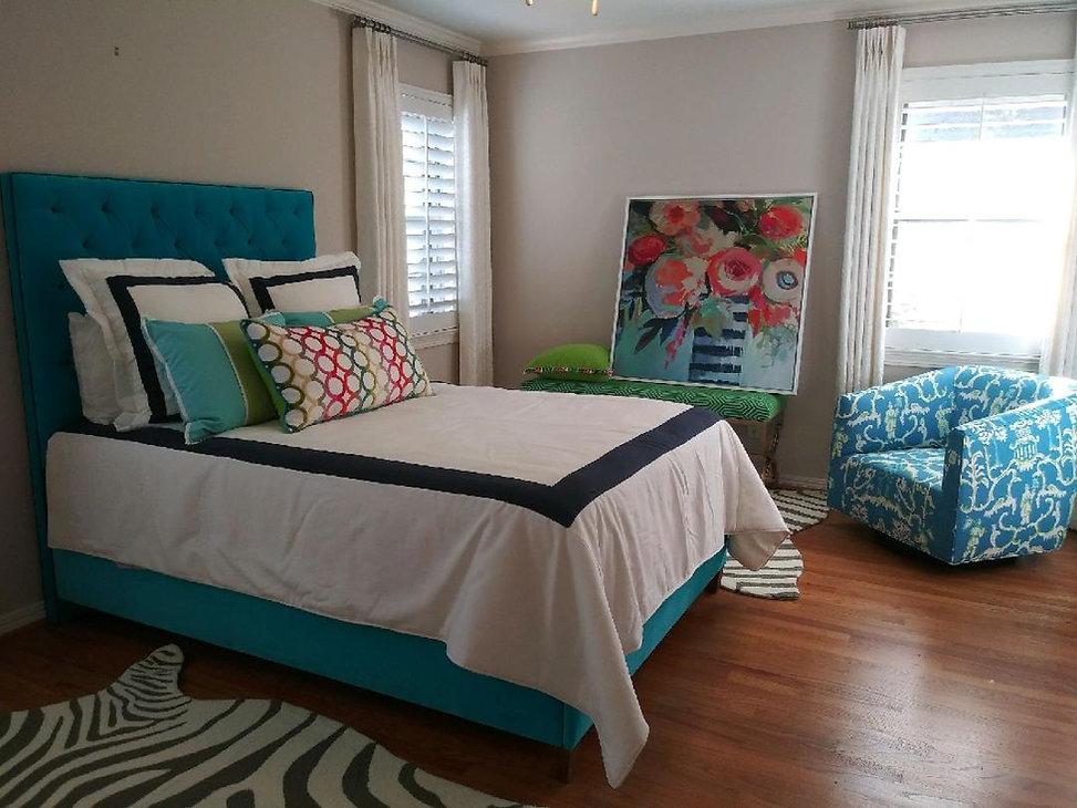 Blue velvet bed and cute chair.jpg