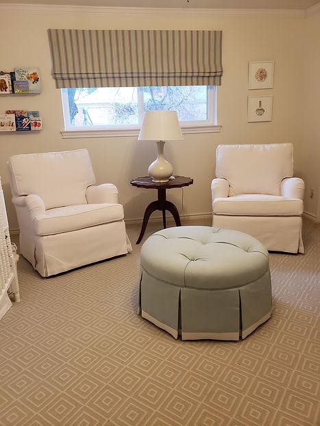 Nov 2020 white chairs ottoman baby's roo