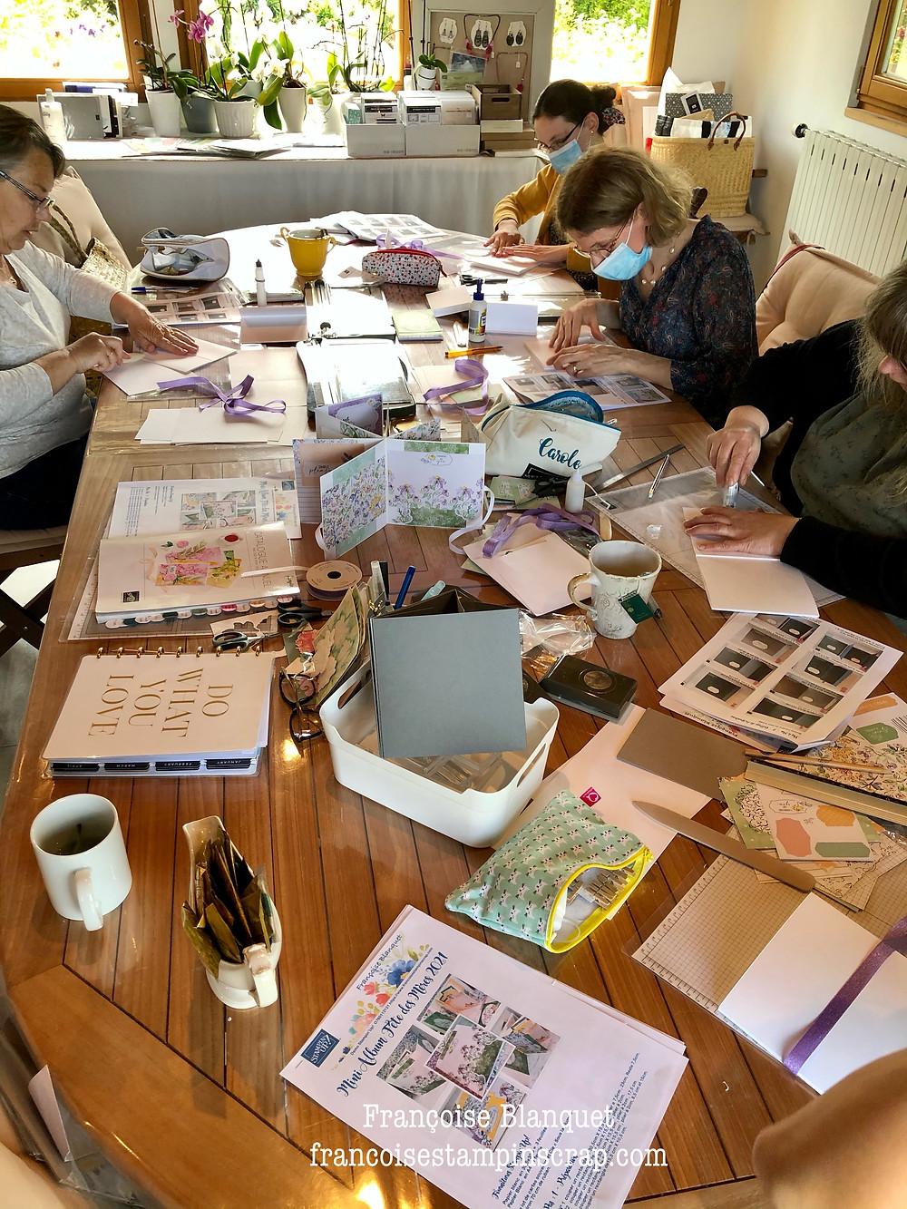 Atelier scrapbooking album Stampin'Up dans l'Oise chez Françoise Blanquet