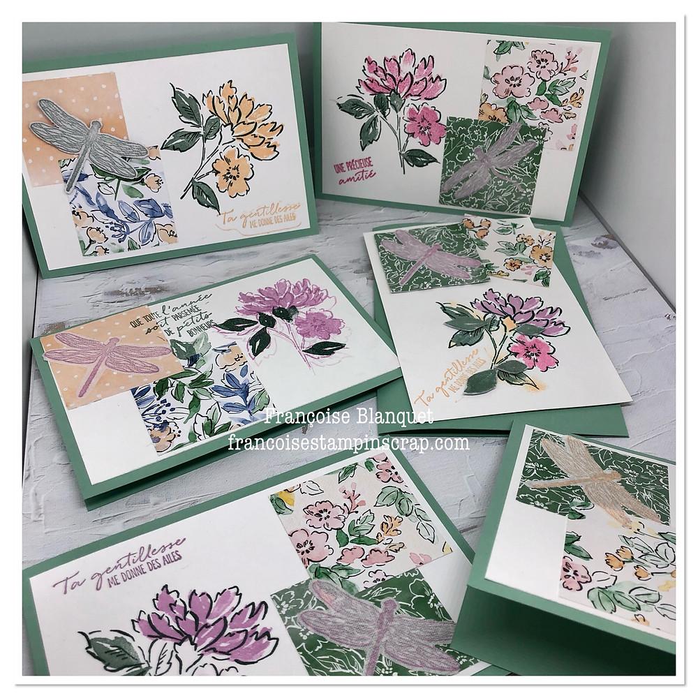 """Cartes artisanales créées par les participantes aux ateliers Stampin'Up! Oise  avec utilisation des 5 in colors 2021-2022 et du set de tampons """"pétales manuscrits"""""""