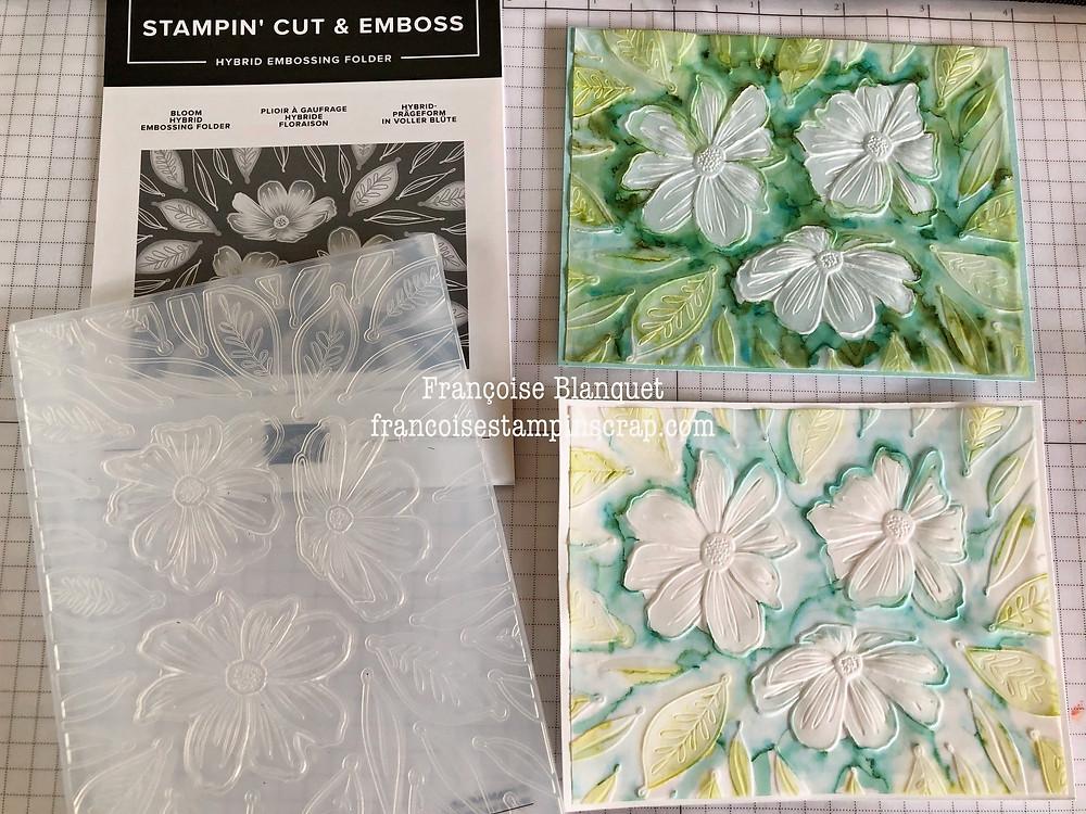 """Plioir à gaufrage hybride """"Floraison"""" de chez Stampin'Up!  avec exemples sur 2 papiers différents"""