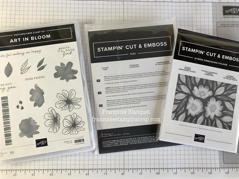 """Le lot complet """"Art  in Bloom""""  avec tampons , poinçons /Dies et son Plioir à gaufrage hybride """"Floraison"""" de chez Stampin'Up!  référence 158368 a retrouver dans la boutique de Francoise Blanquet Stampin'francoise"""