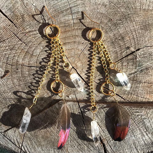 Queen Quartz & Mallard Feather Earrings
