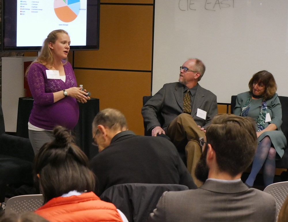 Christa presents at Urban Data conference while 7 months pregnant. PC:Elizabeth Leake