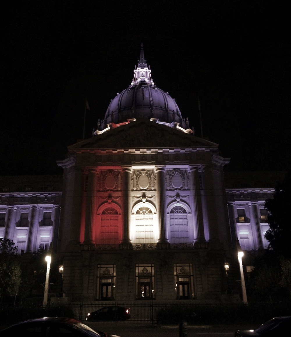 Federal Building Lit Up in Red, White, & Blue