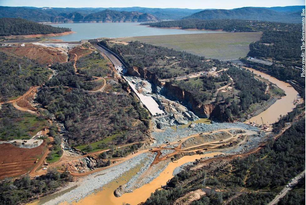 Damage to Oroville Dam Emergency Spillway