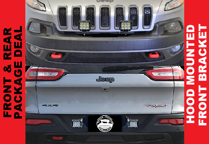 "2014 - 2018 Cherokee KL 20"" Pod Light Hood Mount & Rear Pod Light Bracket"