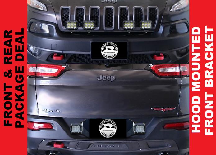 "2014 - 2018 Cherokee KL 31"" Pod Light Hood Mount & Rear Pod Light Bracket"