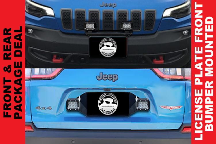 """2019+ Cherokee KL Front 16"""" Pod Light Mount & Rear Pod Light Mount Bracket Combo"""
