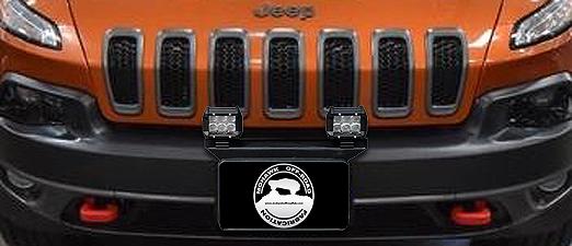 """2014 - 2018 Cherokee KL 16"""" Front License Plate Pod Light Mount Bracket"""