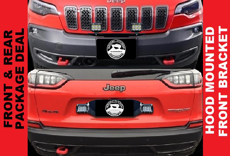 "2019 -2020 Cherokee KL 20"" Pod Light Hood Mount & Rear Pod Light Bracket"