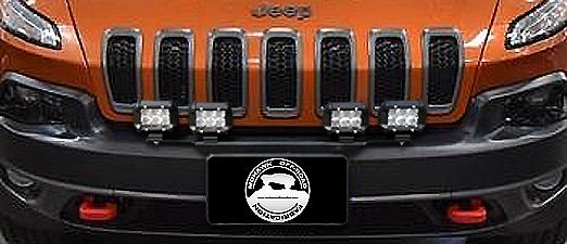 """2014 - 2018 Cherokee KL 24"""" Front License Plate Pod Light Mount Bracket"""