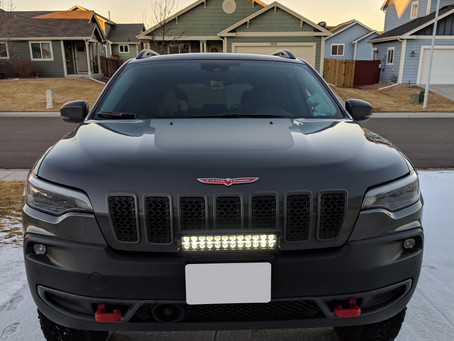 2019 Jeep Cherokee KL Trailhawk with a Front License Plate Mount & Light Bar!!!