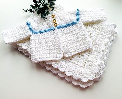 Vintage style crochet cardigan with bobble trim
