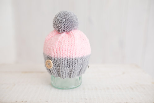 Pink and grey cupcake hat