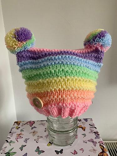 Pastel rainbow double pompom