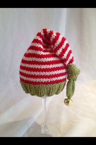 Cherry, olive and cream striped knotted elf hat with bell