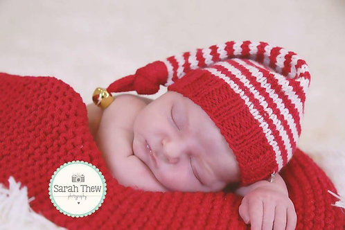 Cherry and cream striped knotted elf hat with bell
