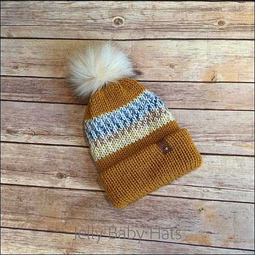 Gold and mix bobble hat with  faux fur pompom
