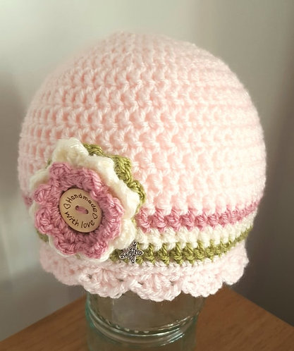 Crocheted Beanie Pale Peach, Olive and Dusky Pink