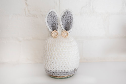 White and grey Bunny Hat with buttons
