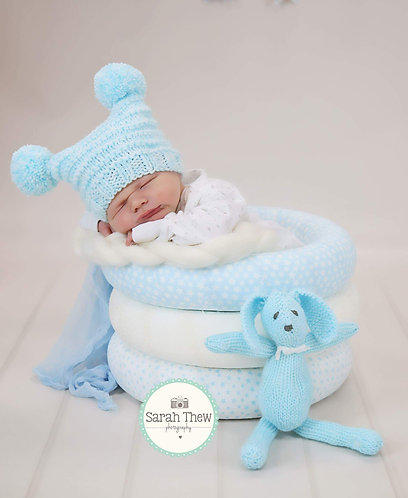 Turquoise and White Double Pom Pom