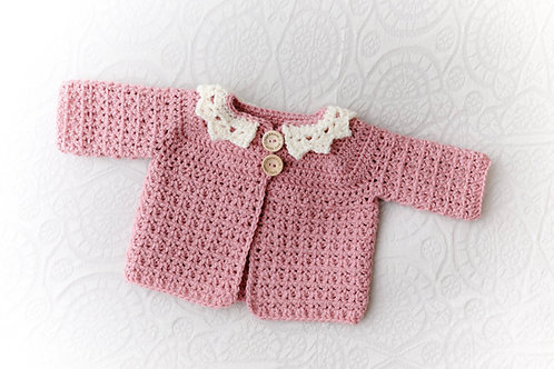 Dusky Pink Crocheted Cardigan with Cream Collar
