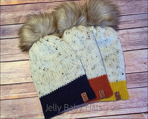 Adult beanie with coloured trim