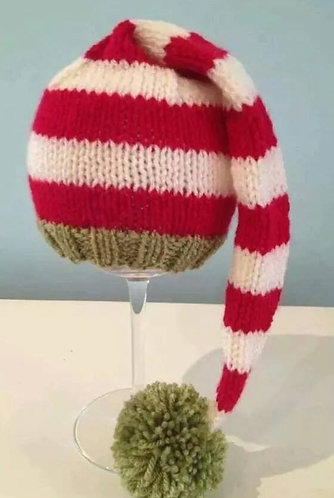 Long elf hat in cherry, olive and cream