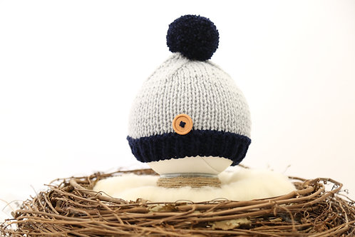 Navy and Grey Button Bobble Hat