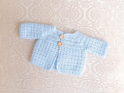 Baby Blue Crocheted Cardigan