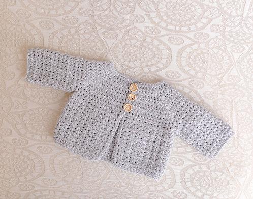 Plain Grey Crocheted Cardigan