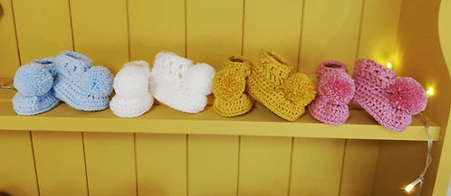 Crocheted booties various colours