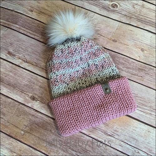 Dusky pink mix bobble hat with faux fur pompom