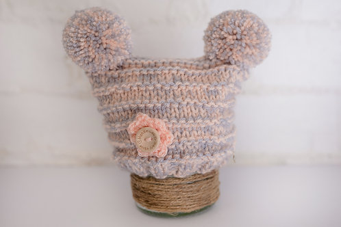 Peach and Grey Double Pom Pom