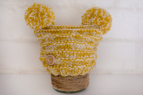 Mustard and cream double pompom