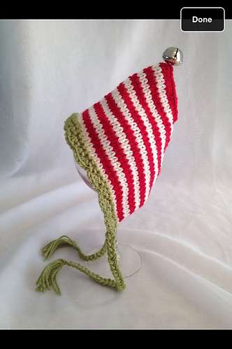 Cherry, olive and cream striped pixie hat with bell