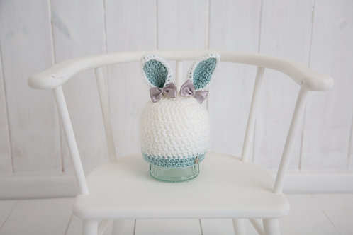 White Bunny Hat with duck egg ears and beige bows( buttons also available)