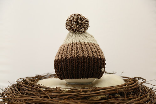 Brown, mink and stone bobble hat