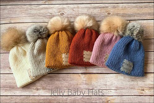 Newborn bobble hat with Faux fur pompom
