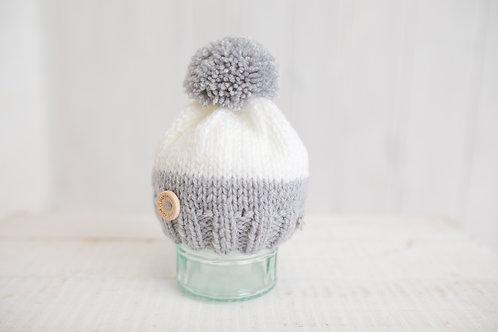 Grey and white cupcake hat