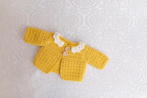 Mustard Crocheted Cardigan with Cream Collar