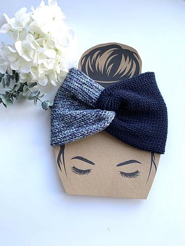 Twisted headband, navy tweed mix